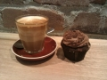 Chocolate cupcake and a latte