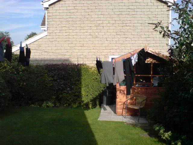 A makeshift washing line