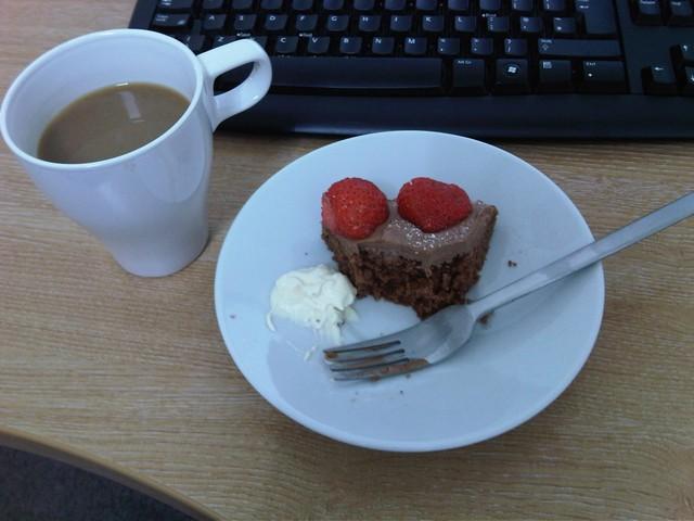 strawberry chocolate cake breakfast