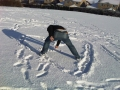 Writing a love message in the snow