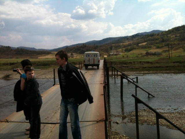 Taras on bridge to Lastylka village, Ukraine