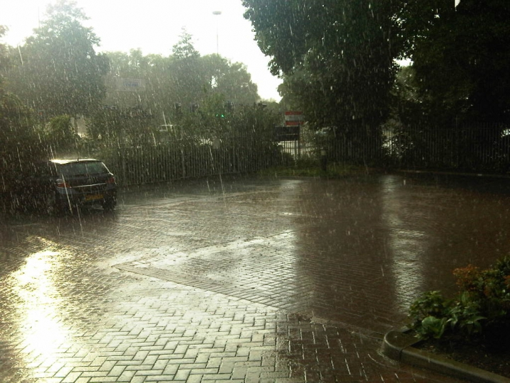 Heavy rain, car park