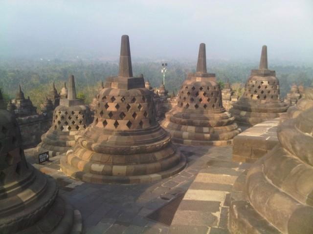 Sunrise at Borobudur, Buddhist Temple, Java