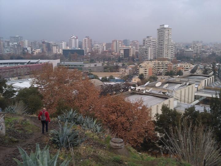 Descending Cerro San Cristóbal, Santiago