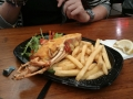 Rock lobster mornay with chips and salad