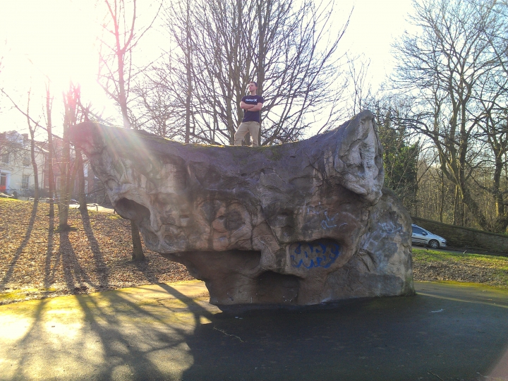 Rock climbing boulder, Cemetery Road open space, Sheffield