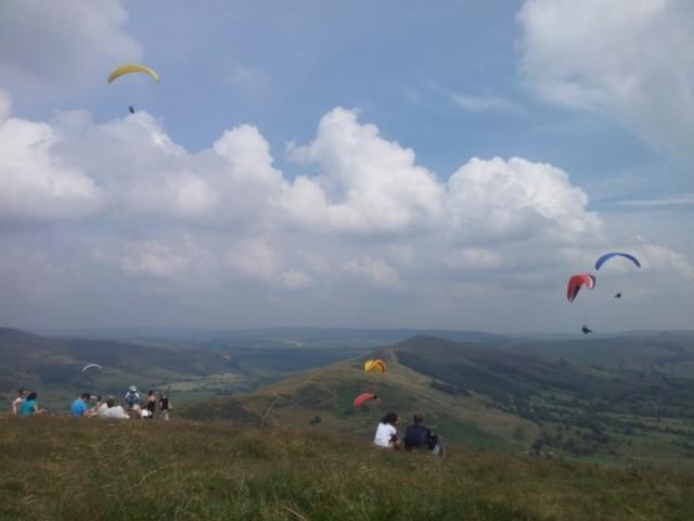 Paragliders at Mam Tor, Castleton, Derbyshire
