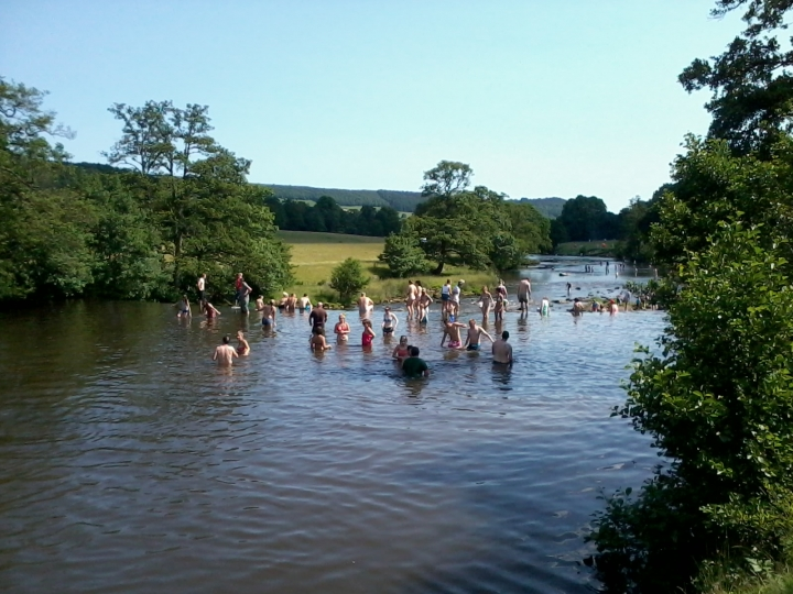 Swimming in River Derwent, Chatsworth Park