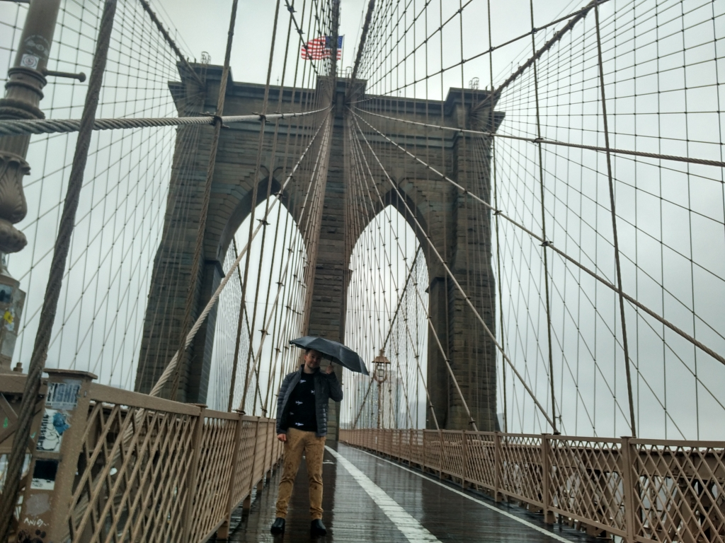 Standing on Brooklyn Bridge, New York