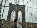 Standing on Brooklyn Bridge, New York